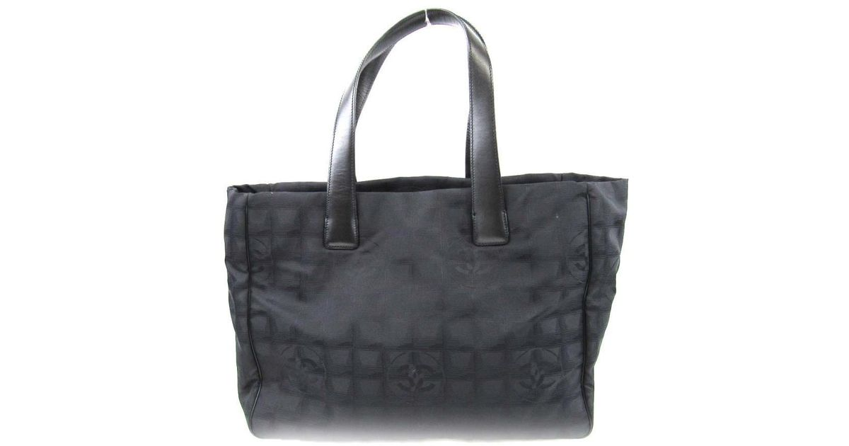 55d5f43fc5b4 Lyst - Chanel Auth New Travel Line Tote Mm Tote Bag Leather X Nylon Canvas  Black Used in Black