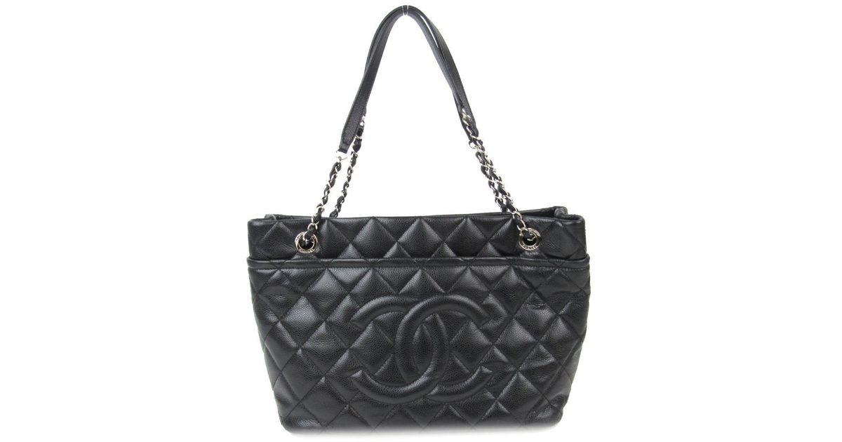 Lyst - Chanel Cc Shoulder Bag A 67291 Caviar Skin Chain Tote Leather Black  in Black 338031b28b889