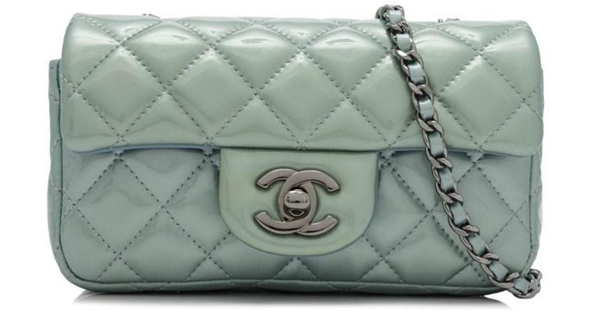 5065e30f6f9f01 Chanel Pre-owned Quilted Patent Leather Mini Sling Bag in Blue - Lyst