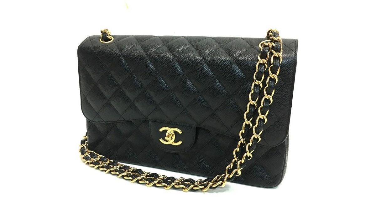 35e240d991ec Lyst - Chanel Deca Matelasse 30 Double Chainshoulder Shoulder Bag Black/goldhardware  Caviar Leather A58600 in Black