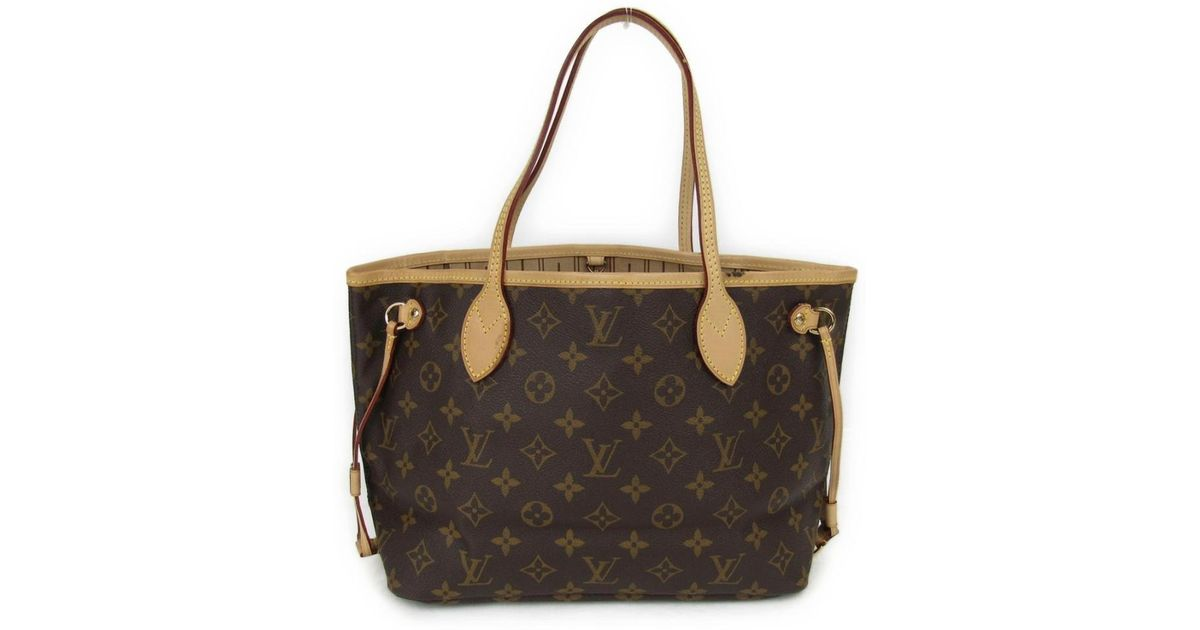 947a0202f549 Lyst - Louis Vuitton Neverfull Pm Tote Bag Monogram Canvas M40155 in Brown