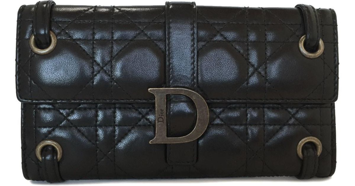 Lyst - Dior Long Wallet Black Lady Cannage Lambskin Leather in Black 21c2e6cf6735d