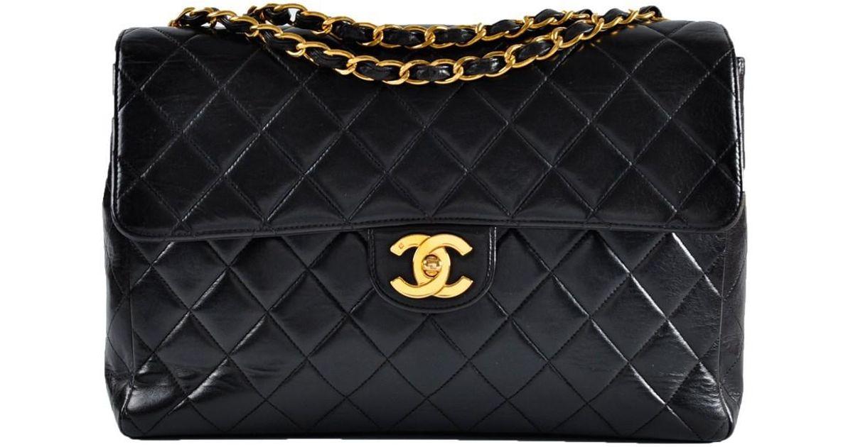22931b5b4b56 Chanel Vintage Jumbo Black Small Cc Lambskin Single Flap Bag Ghw in Black -  Lyst
