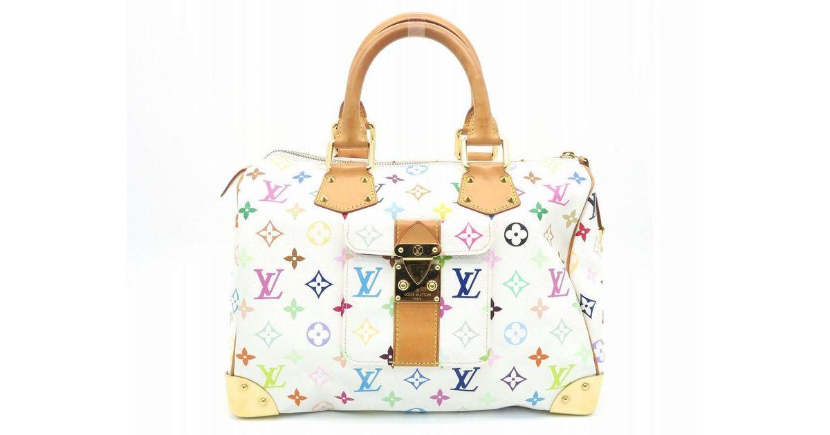 dd439414121c Lyst - Louis Vuitton Monogram Multicolore Speedy 30 Tote Bag White   Multicolor 9086 in White