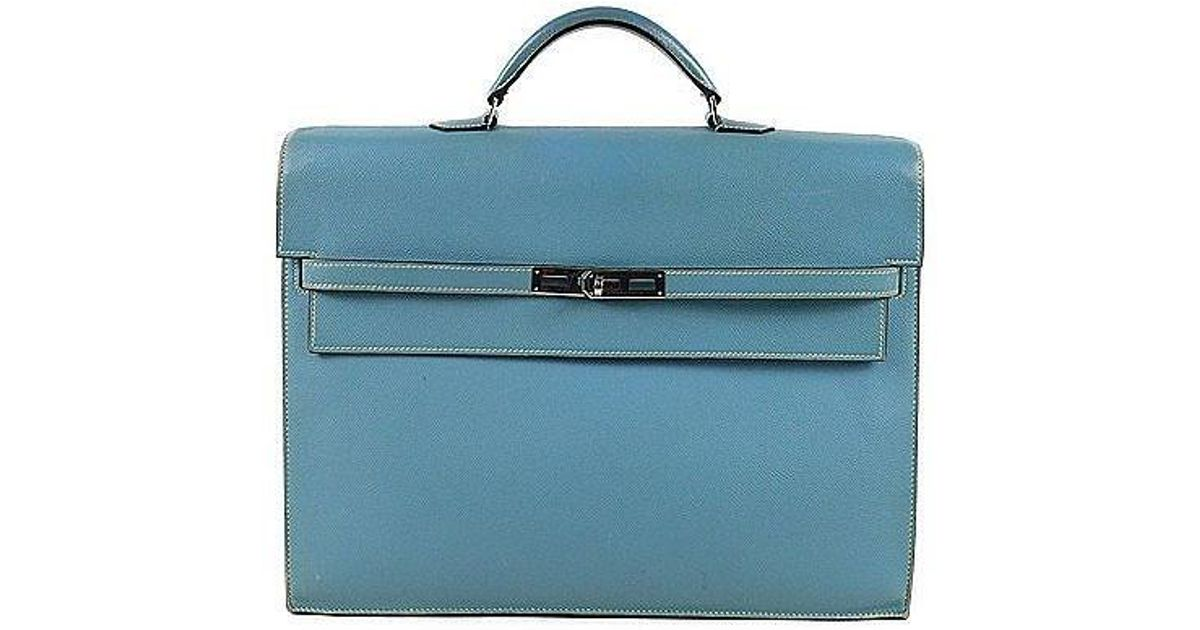 Lyst - Hermès Kelly Depeche 38 Business Bag Briefcase Epson □i in Blue 6566bfdd6697a