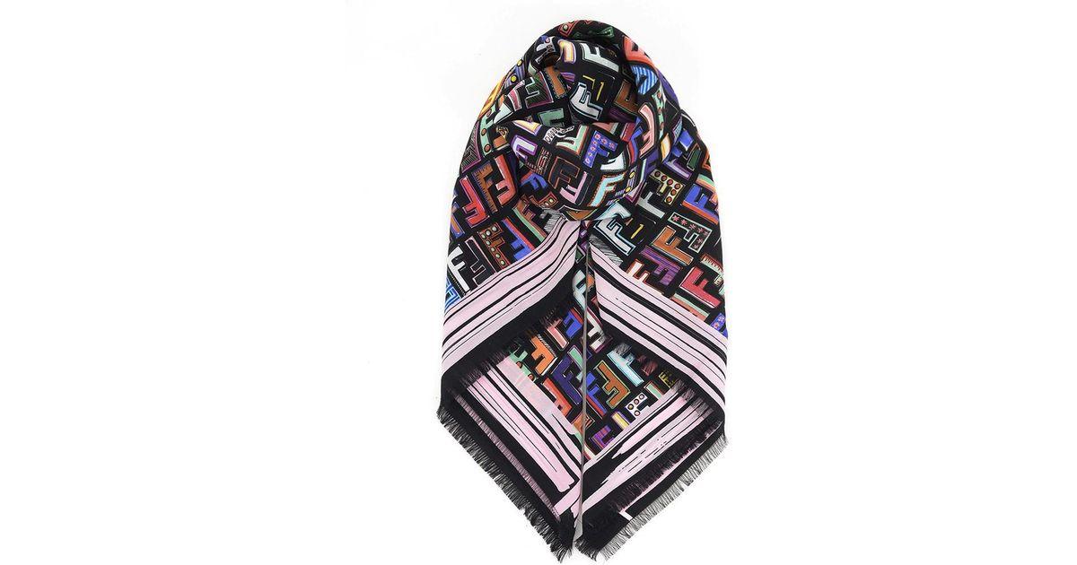 floral foulard square scarf - Multicolour Fendi 7X4c7UJFBv