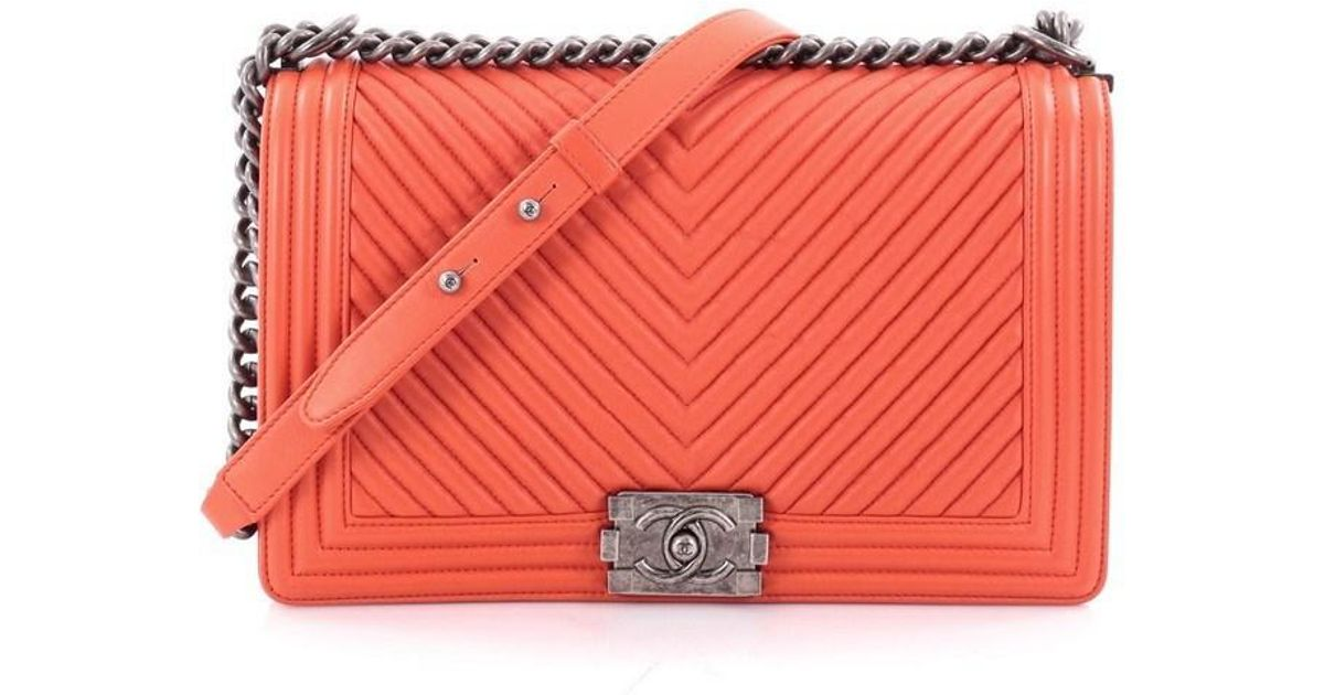 2f9522b67b9e Chanel Boy Flap Bag Chevron Wrinkled Lambskin New Medium in Orange - Lyst