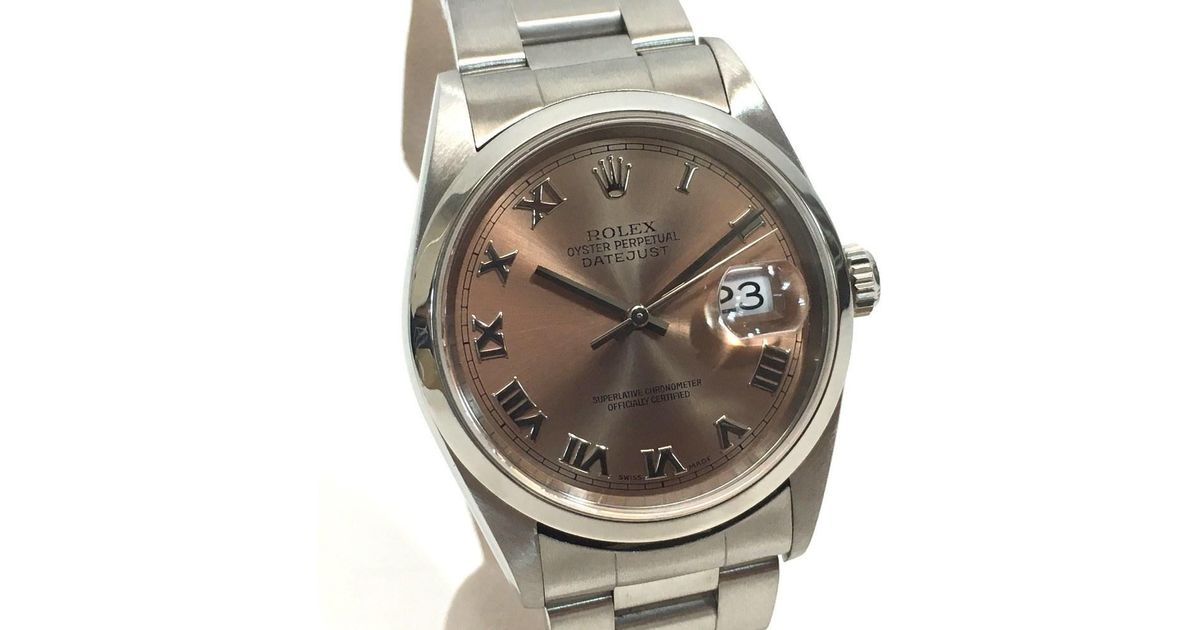 f92934090e5 Rolex Oyster Perpetual Datejust Pink Roman Dial Men's Wristwatch 16200 in  Metallic for Men - Lyst
