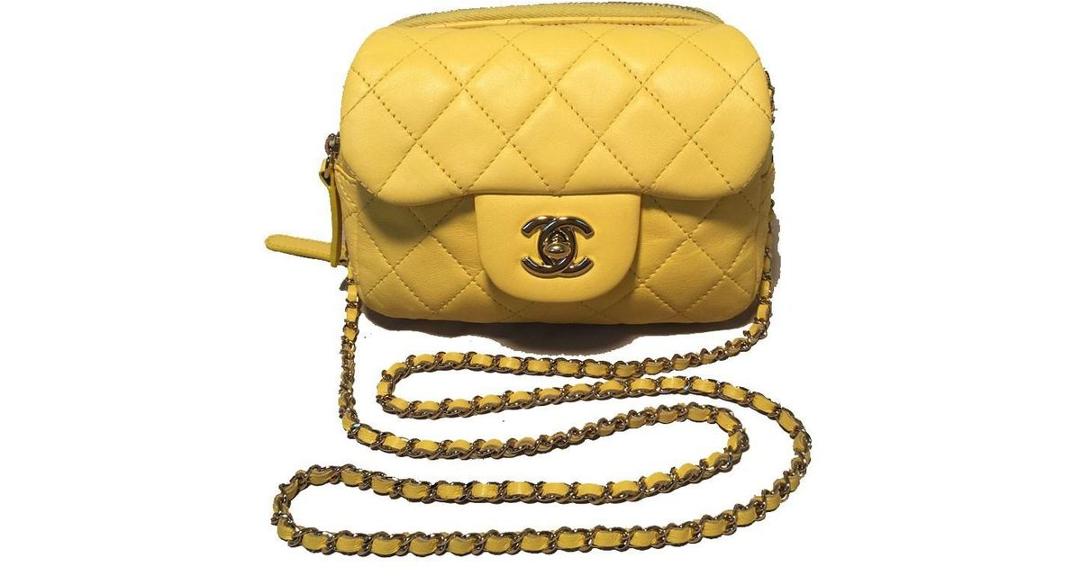 75114beb54f6 Chanel Yellow Mini Classic Flap Woc Wallet On Chain Shoulder Bag in Yellow  - Lyst