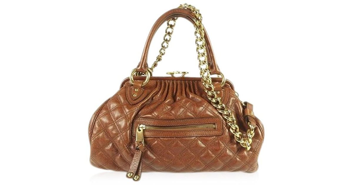 18fb2133d1 Marc Jacobs Mj Stam Handbag Quilted Satchel Bag 100% Authentic From Japan  in Brown - Lyst