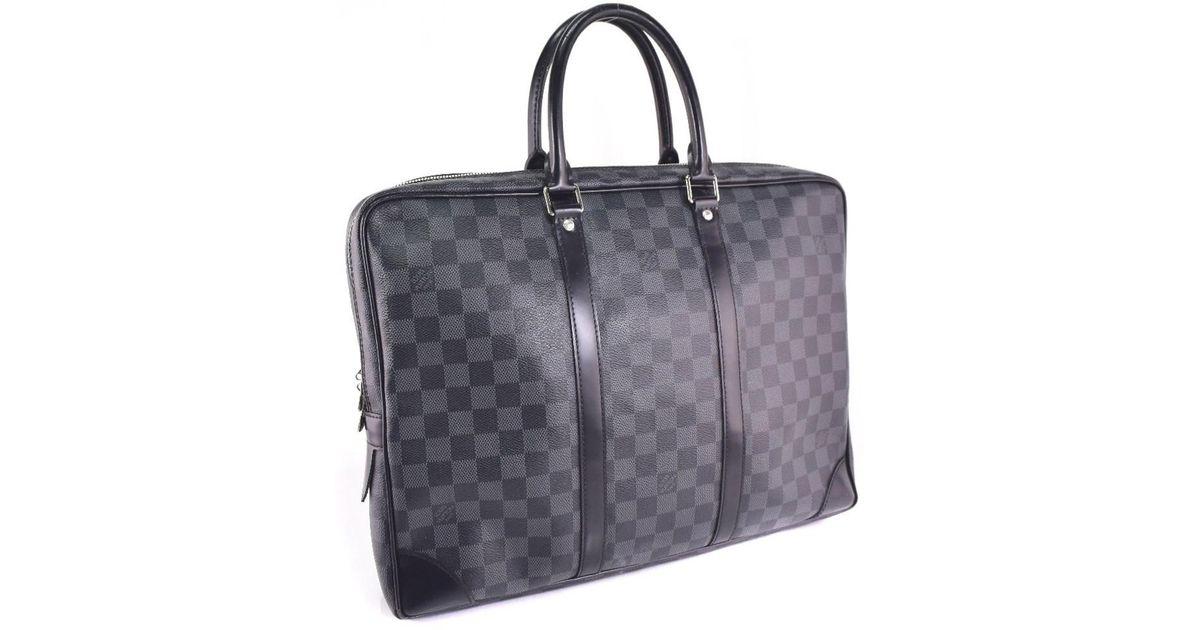 852e6a08aa23 Lyst - Louis Vuitton N 41125 Damier Graphite Canvas Black Business Bag Mens  in Black