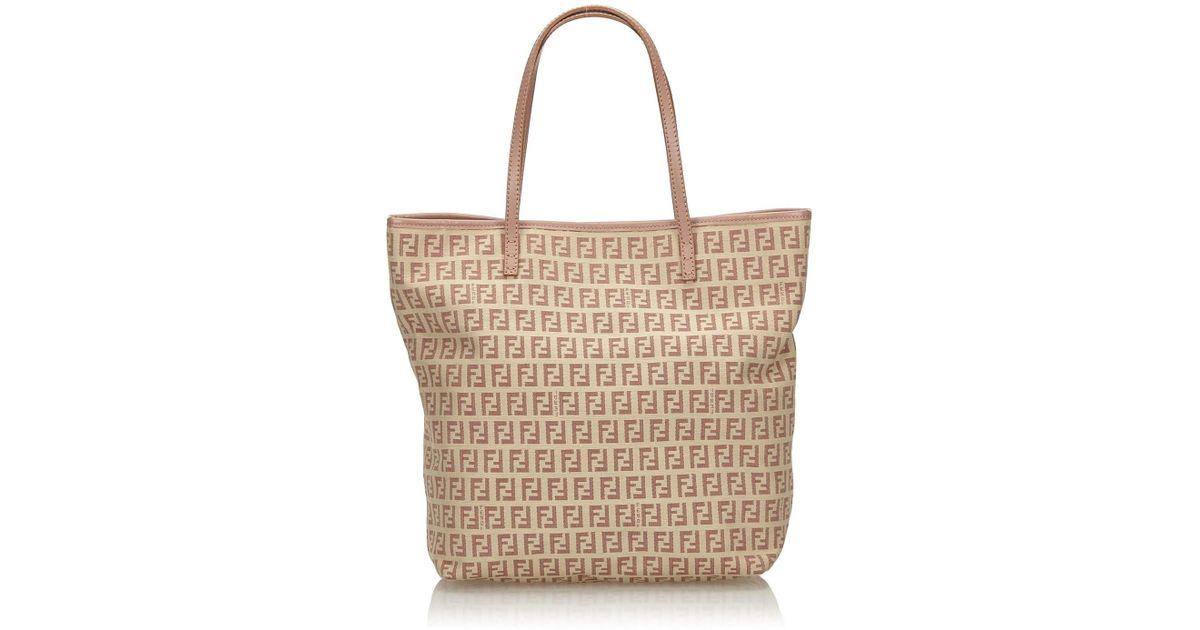 4892cfa229ede Lyst - Fendi Zucchino Jacquard Tote Bag in Pink