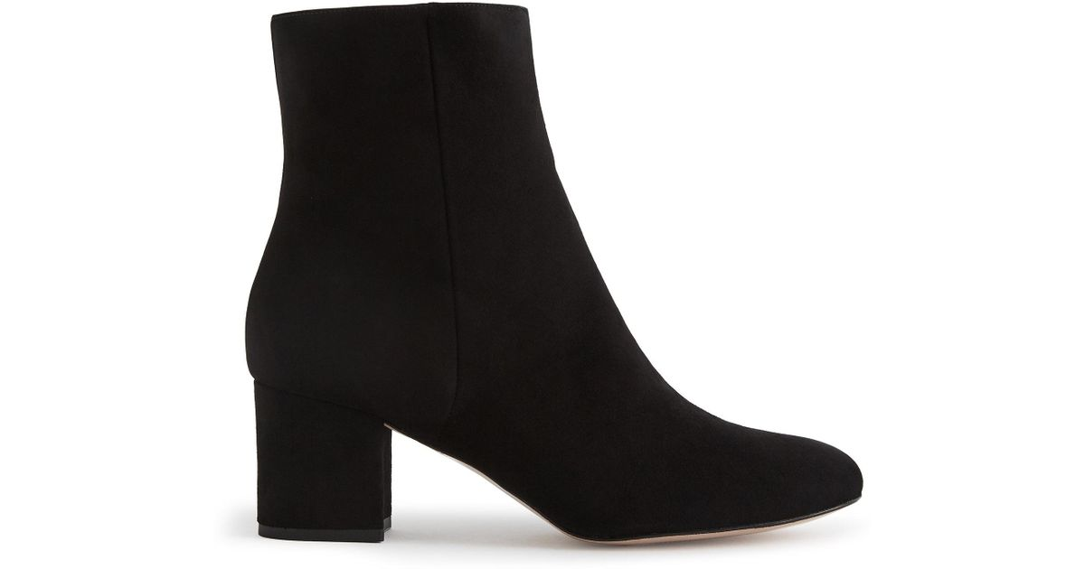 d581a05c43395 Lyst - Reiss Delphine - Suede Block Heeled Ankle Boots in Black - Save 60%