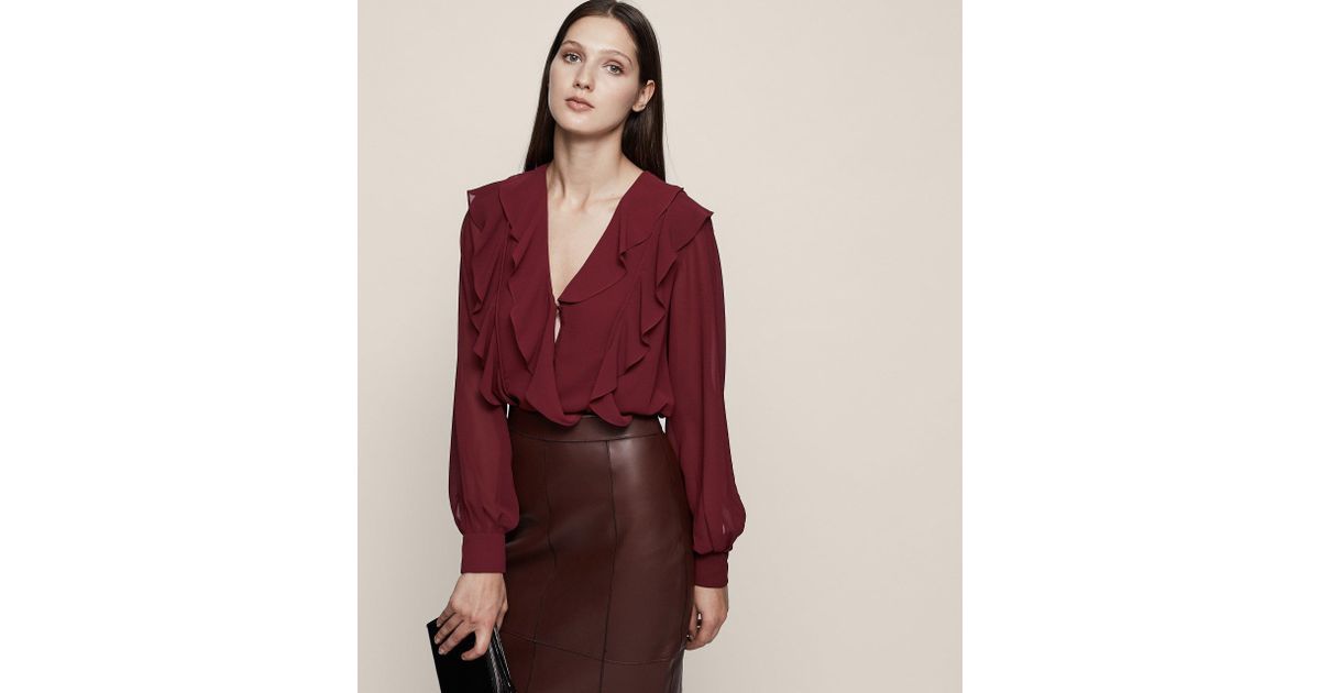 490c110c9aa5bc Reiss Goldie - Ruffle-front Blouse in Red - Save 61% - Lyst
