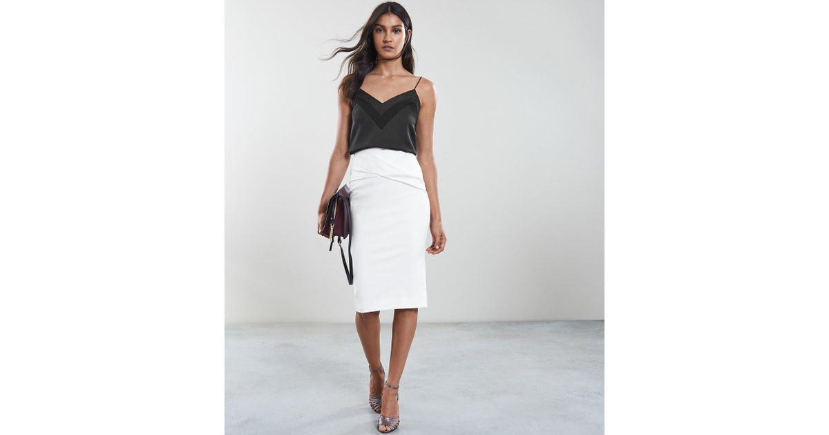 8f1201f09 Reiss Icia - Pleat Front Jersey Pencil Skirt in White - Lyst