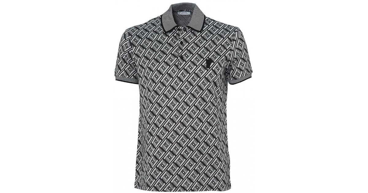 2376831c3c42 Lyst - Versace Frame Print Polo, Black White Polo Shirt in Black for Men