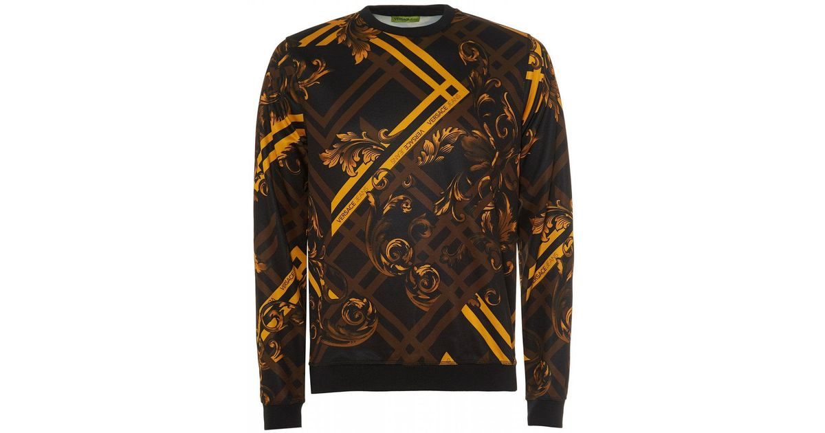 299dd754 Versace Jeans Mens Baroque Print Sweatshirt Black in Black for Men - Lyst