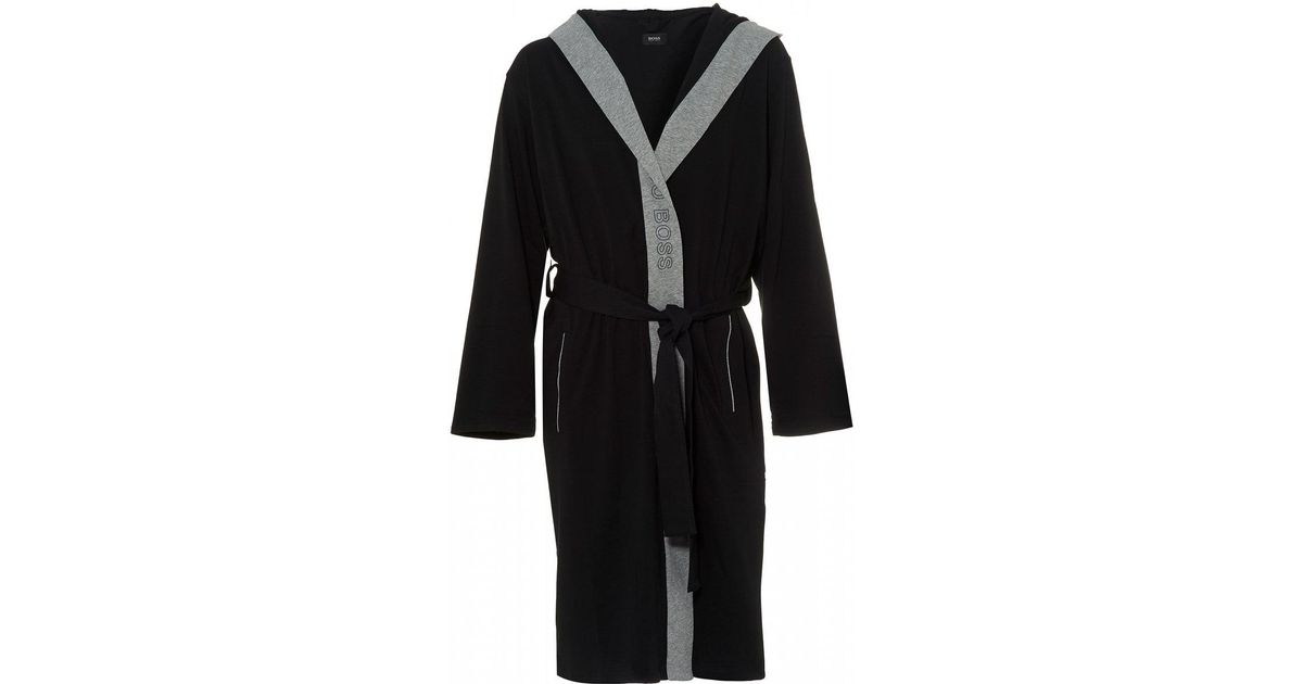 Lyst - Boss Identity Gown Black Hooded Dressing Gown in Black