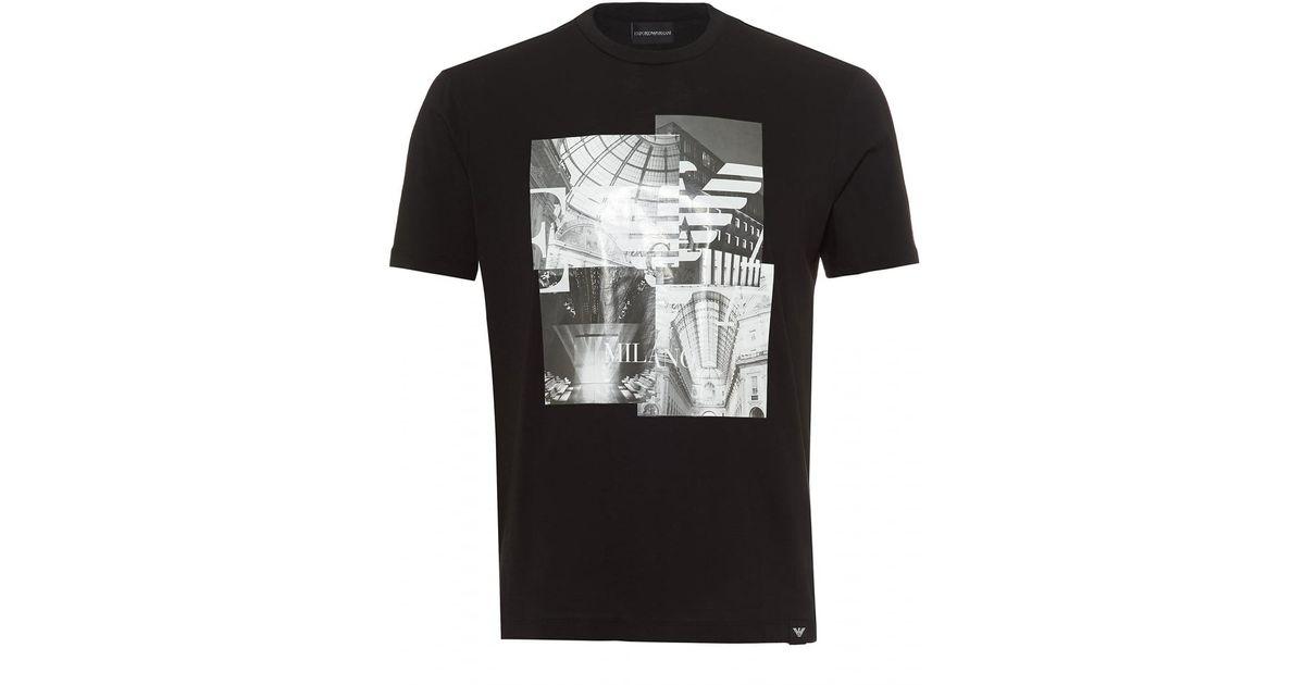 cb9b4b41 Emporio Armani Milano Print T-shirt, Regular Fit Black Tee in Black for Men  - Lyst