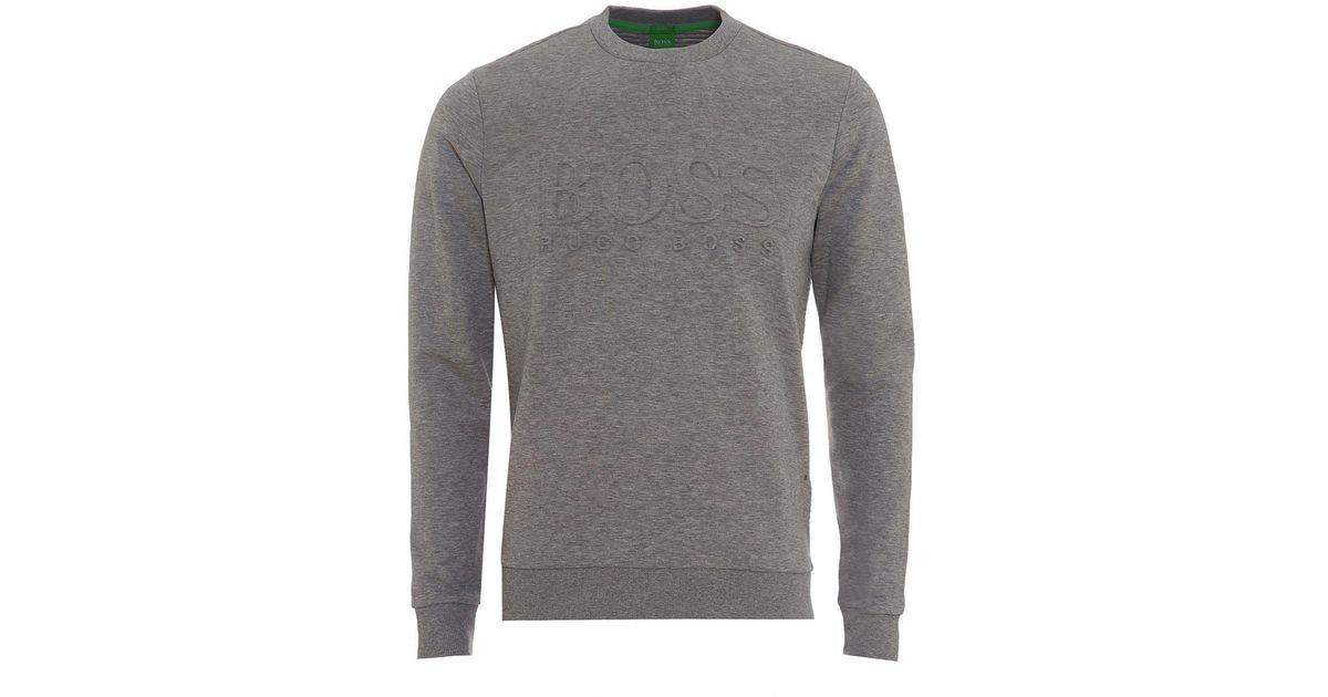 Lyst - Boss Salbo Sweatshirt, Crew Neck Grey Melange Jumper in Gray for Men b4ab43412cbc