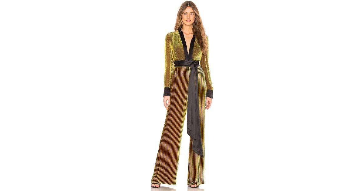 0457efaa09e Lyst - Diane von Furstenberg Sash Jumpsuit in Yellow
