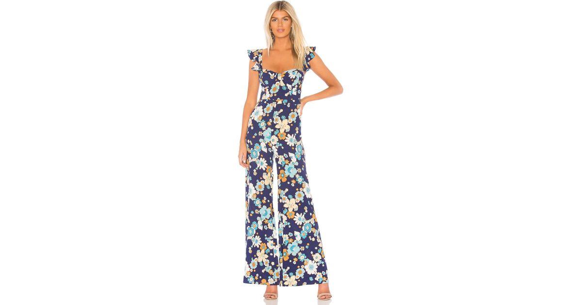 e17e1199657 Lyst - For Love   Lemons Magnolia Ruffled Jumpsuit in Blue