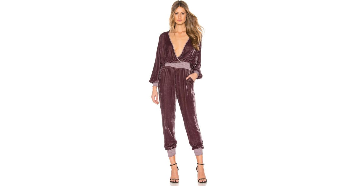 c0ef626ce76a Lyst - Young Fabulous   Broke Ambrosia Velvet Jumpsuit in Red
