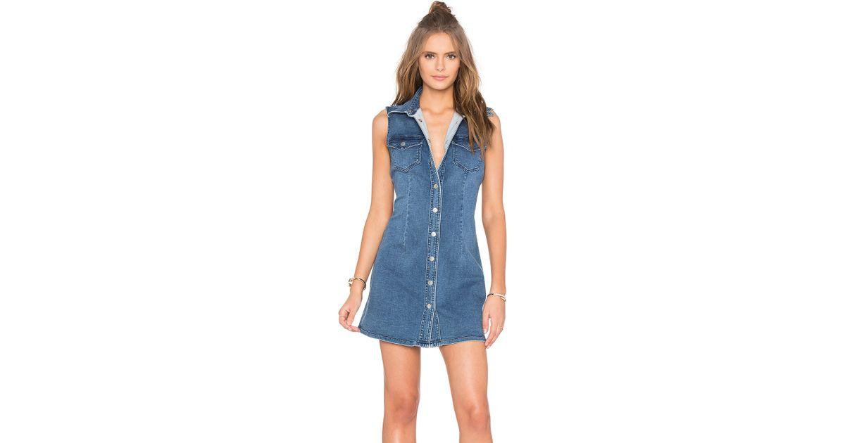 bardot soho denim sleeveless dress in blue lyst