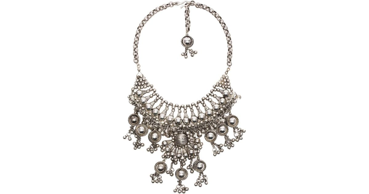 CHILD OF WILD Moon Dweller Indian Necklace in Metallic Silver WLmrSwRC