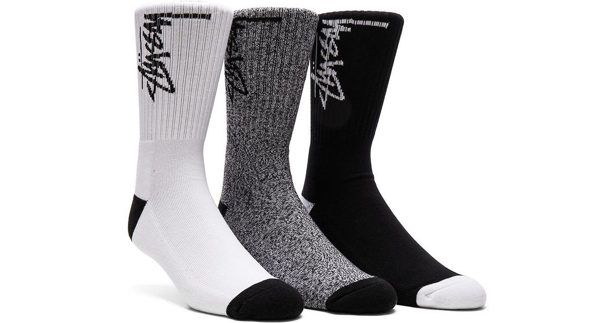8d1c50f6185 Lyst - Stussy 3-pack Stock Socks In Black
