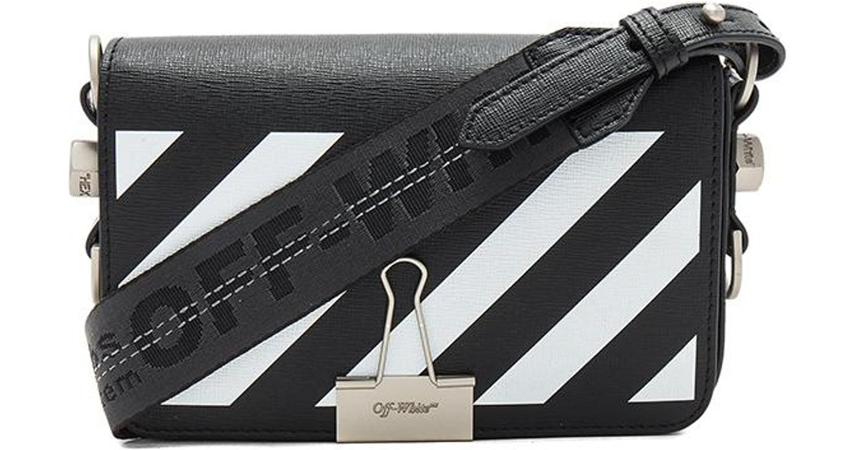 68ab5eecaf Lyst - Off-White c o Virgil Abloh Diagonal Square Mini Flap Bag in Black