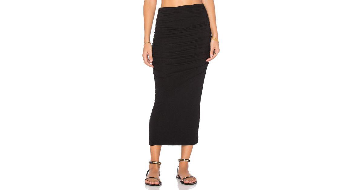 4e645f37e James Perse Shirred Tube Skirt in Black - Lyst