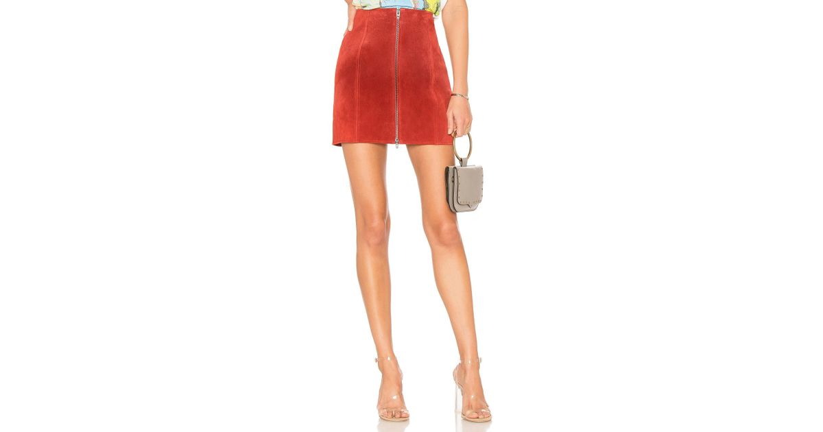4b08d89050 Blank NYC Zipper Suede Mini Skirt in Red - Save 20% - Lyst
