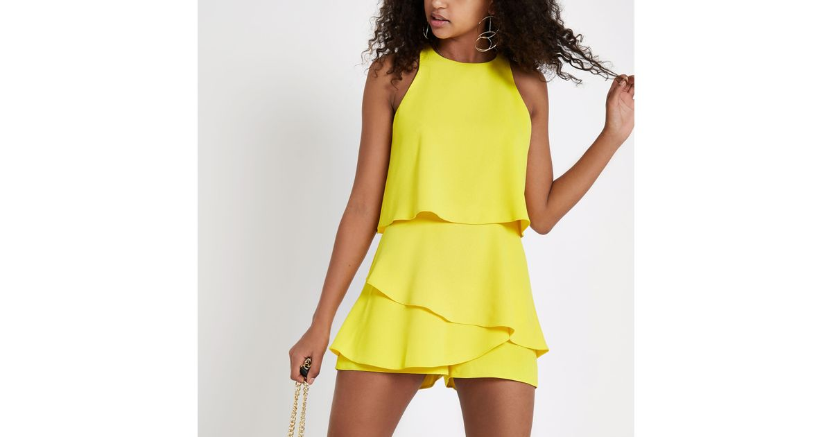 bc8a237fd2 River Island Yellow Tiered Frill Playsuit in Yellow - Lyst