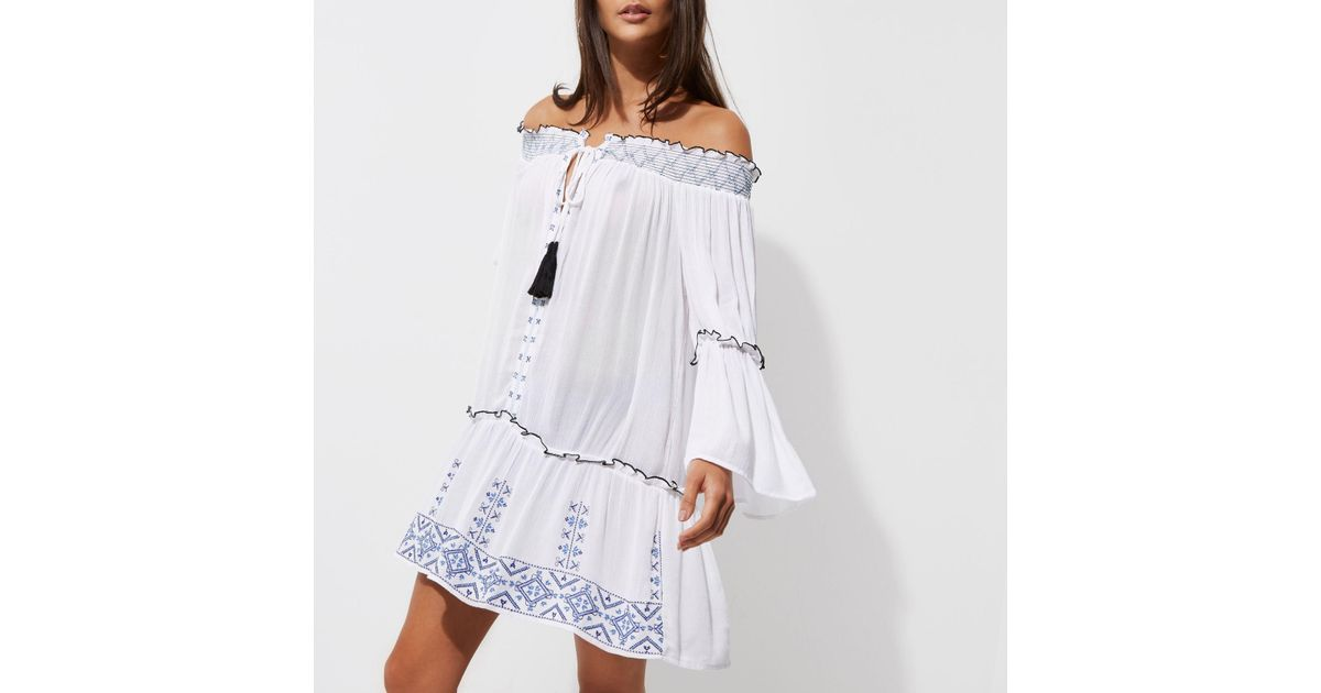 c376a8c927f67 River Island White Embroidered Shirred Bardot Beach Dress in White - Lyst