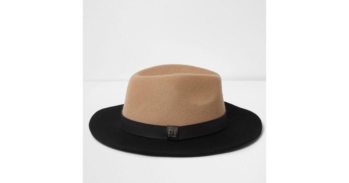f0a2664d7b0 Lyst - River Island Camel Colour Block Wide Brim Fedora Hat