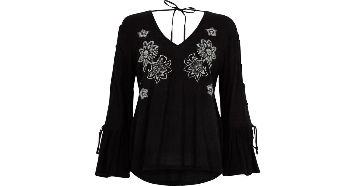 Lyst river island black floral embroidered tie sleeve