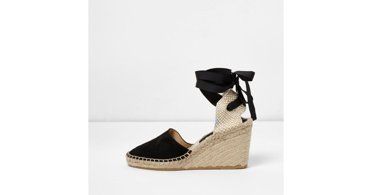 416271d95a979 Lyst - River Island Black Suede Ankle Tie Espadrille Wedges in Black