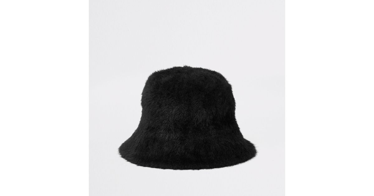 River Island Black Fluffy Bucket Hat in Black - Lyst 2ea3decbe1e