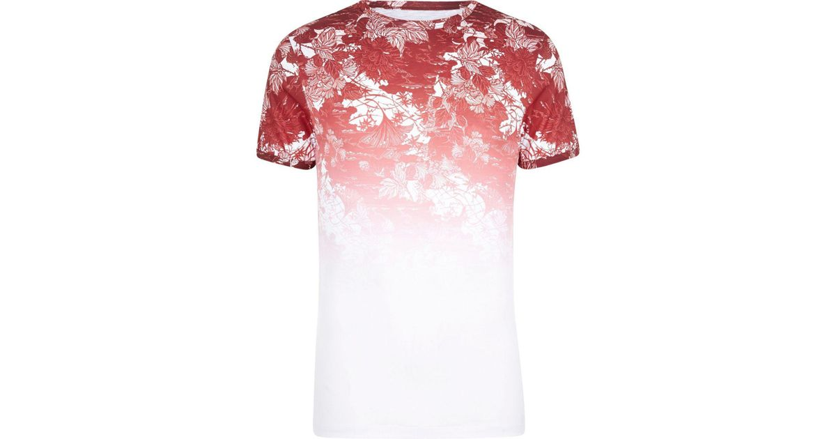 48cef676 River Island White And Red Floral Fade Muscle Fit T-shirt in White for Men  - Lyst