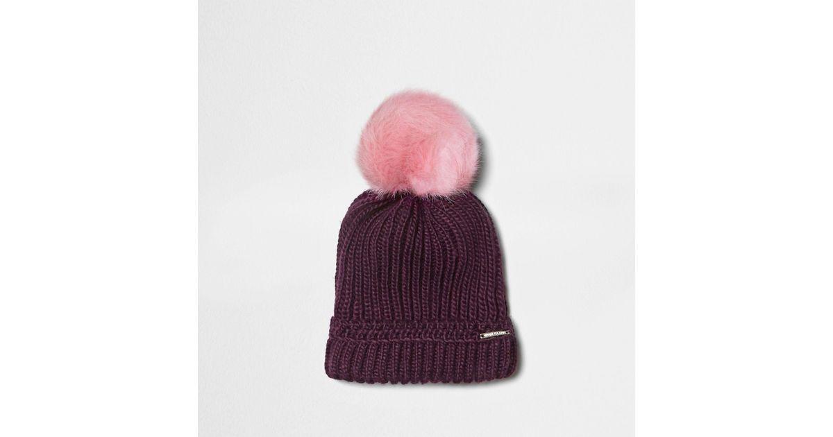 aba977f211a River Island Burgundy Pom Pom Beanie Hat in Purple - Lyst