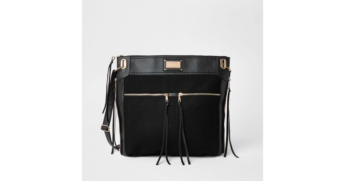 198ae8f464 Lyst - River Island Black Oversized Messenger Bag in Black