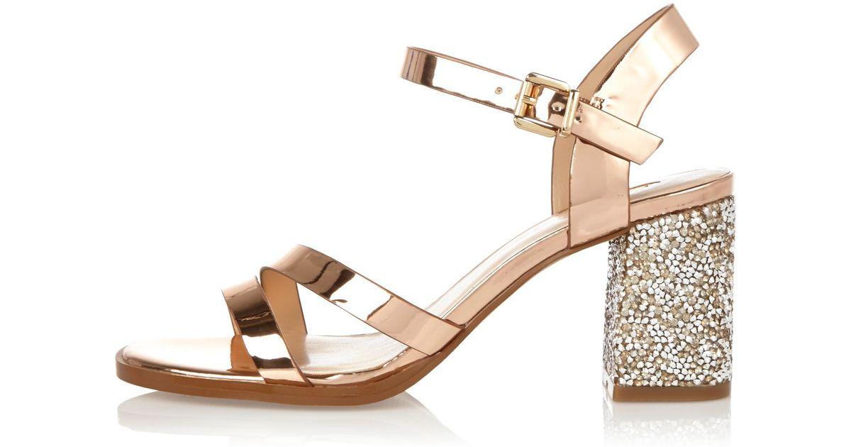 ff2b451f35f8 Lyst - River Island Rose Gold Glitter Block Heel Sandals