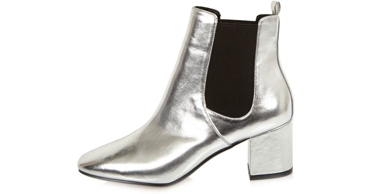River island Silver Block Heel Chelsea Boots in Gray | Lyst