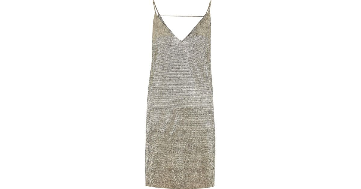 e0e7d9aecb24 River Island Gold Metallic Strap Back Cami Dress in Metallic - Lyst
