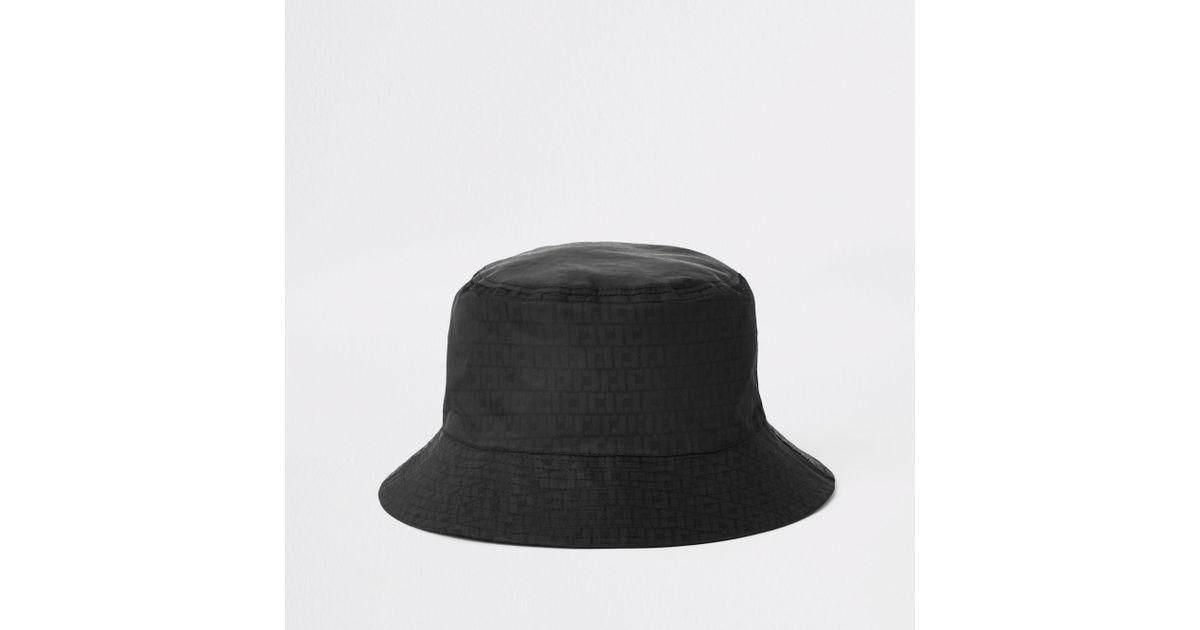 213376124 River Island - Black Ri Monogram Bucket Hat for Men - Lyst