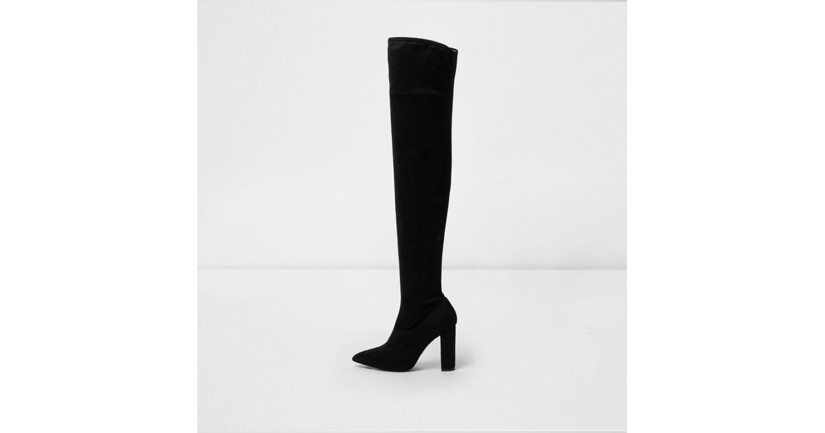 cd77db75671 Lyst - River Island Black Wide Fit Over The Knee Sock Boots in Black