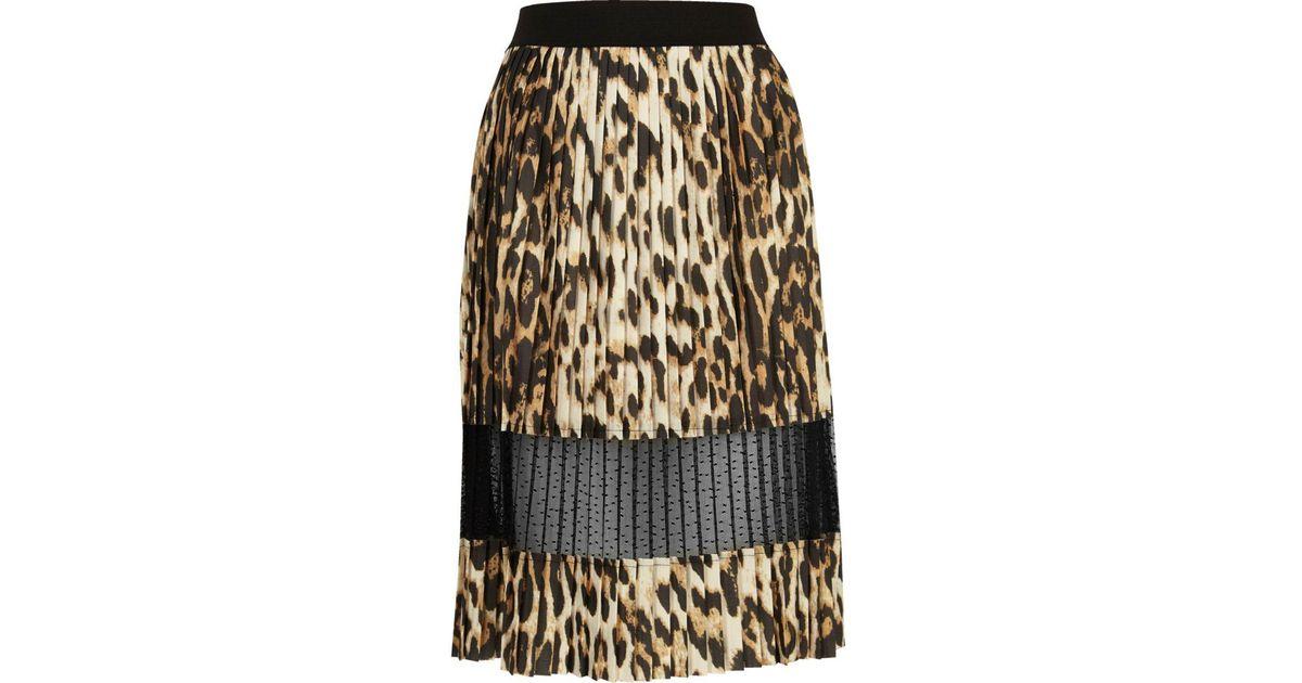 b10e56149e River Island Brown Leopard Print Lace Panel Midi Skirt in Brown - Lyst