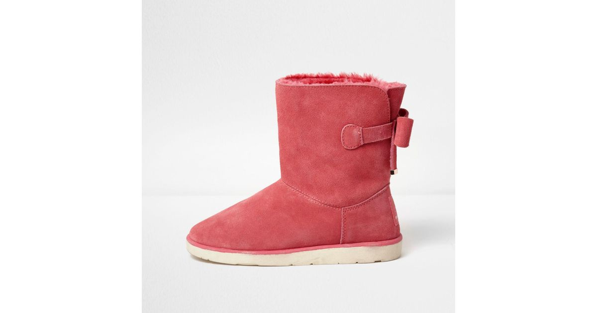River Island Pink Fur Boots