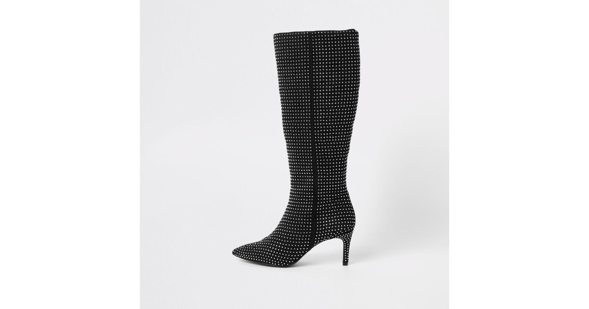c8c3bbdd60b River Island Black Diamante Embellished Knee High Boots in Black - Lyst
